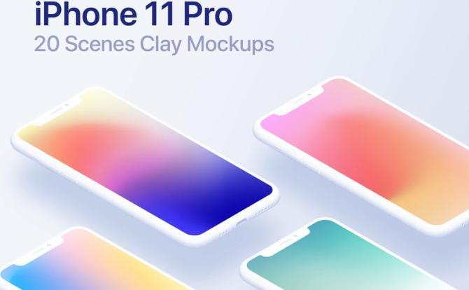 iPhone 11 Pro等距模型设计样机 – 20 Clay Mockups