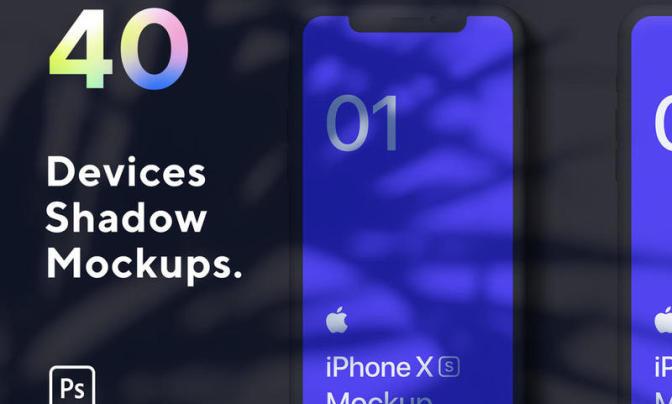 40个设备模型设计样机Macbook Pro,iPad Pro,iPhone XS等距智能图层PSD源文件