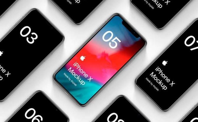 16个高端漂浮Phone X模型设计样机智能图层含PSD源文件