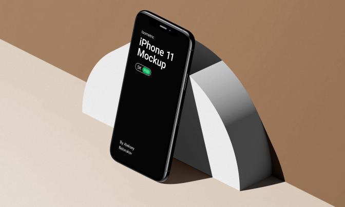 iPhone11高端5K画质立体场景设计样机智能图片PSD源文件