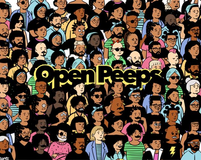 Open Peeps一款强大的手绘风插图生成神器,上万种人体组合任你搭配