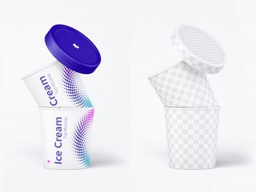 国外高端VI设计冰淇淋外包装设计样机PSD格式智能图层