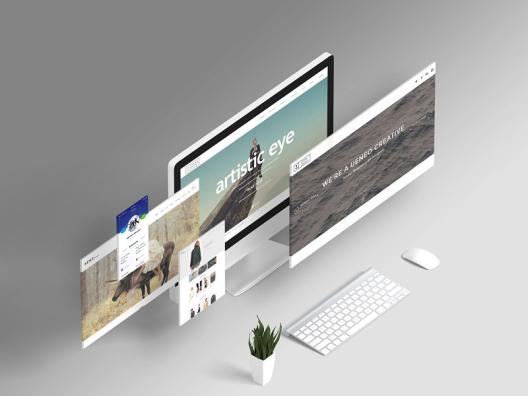 灰白渐变极简web网页设计展示设计样机智能图层PSD格式