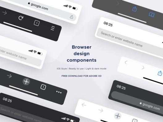 IOS移动端移动浏览器样机模板免费Adobe XD,UI套件