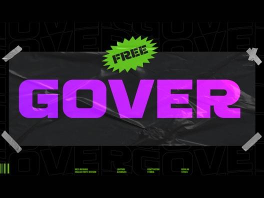 Gover 一款多用途展示字体融合了未来派和城市风格免费商用字体
