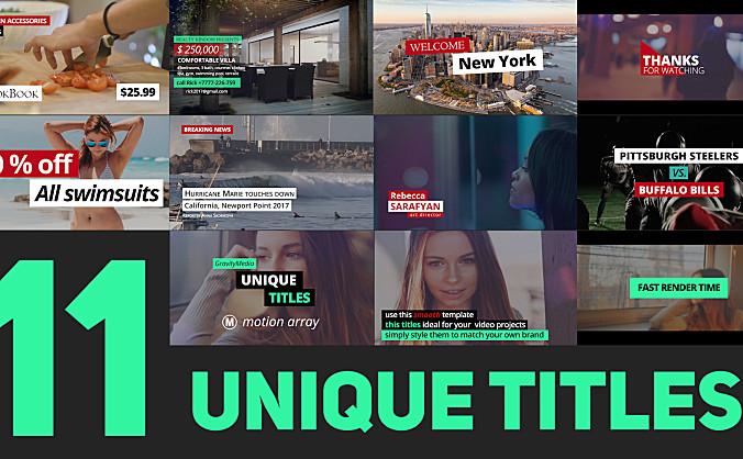 11个Premiere Pro模板时尚设计动画效果优美的标题动画