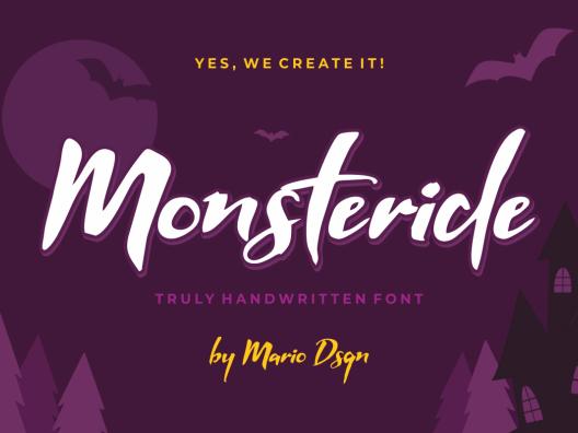 Monsteride 甜蜜卡爱卡通海报标题脚本字体下载