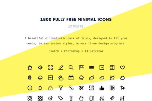 1800个精美小图标黑白矢量图标包 Beautiful little icon