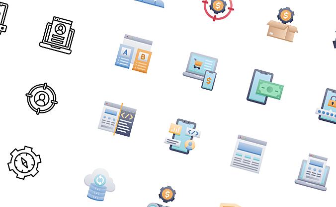 50款电子商务icon图标黑白单色彩色图标整合包 E-commerce Icon