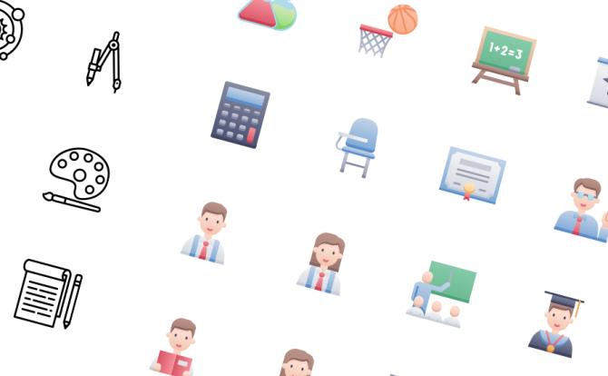 52款学校教育课堂相关icon图标整合- Education Icon Pack