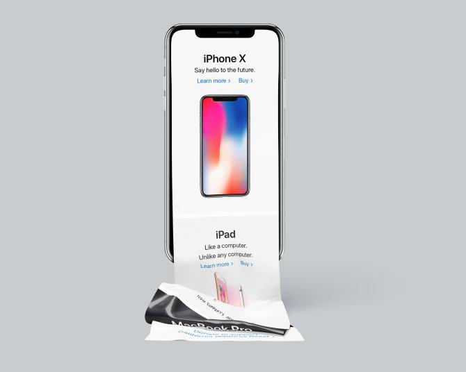 长滚动页面iPhone X样机设计智能图层  Long rolling design model