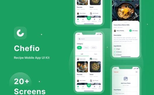 Chefio-食谱应用程序IOS APP UI套件 Recipe ui app