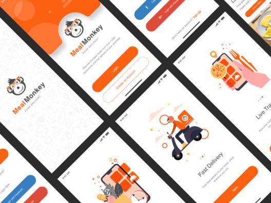 Meal Monkey 外卖行业应用程序送餐手机APP UI套件 Takeaway app UI Suite