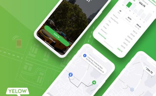yelow网约车出租车司机IOS应用程序APP UI Online car Hailing UI kits