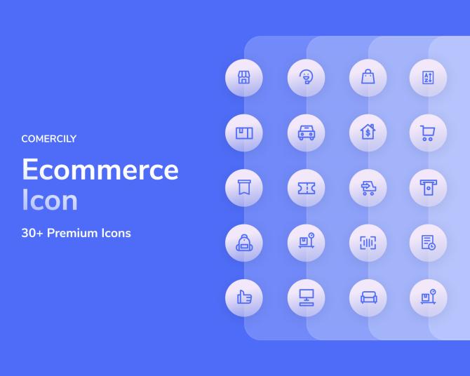 简约线条单色电子商务图标集comercily-icon