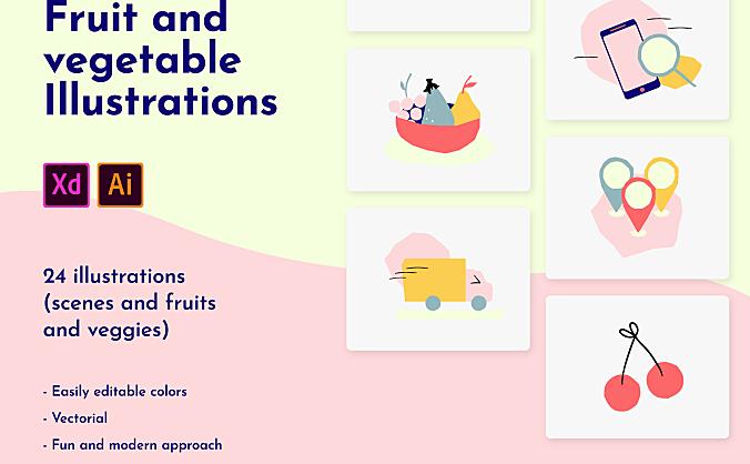 色彩缤纷水果蔬菜插画包 Fruit and vegetable illustration icon