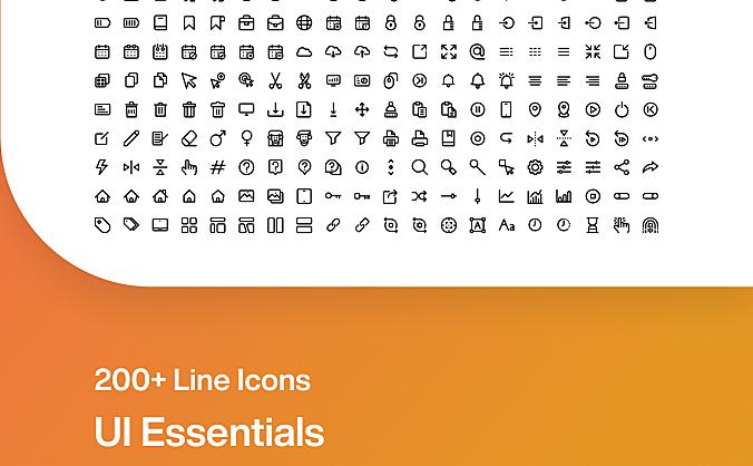 200+平面设计常用icon图标合集 ui-essentials-by-madlabstudio