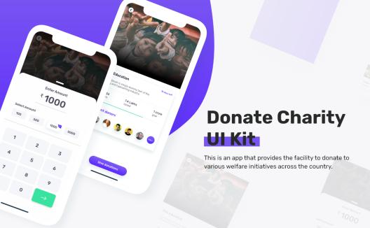 iOS慈善机构应用程序UI套件 folder-donate UI