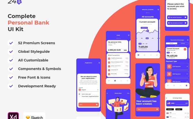 个人版银行理财金融APP UI套件 Bacnk UI kit