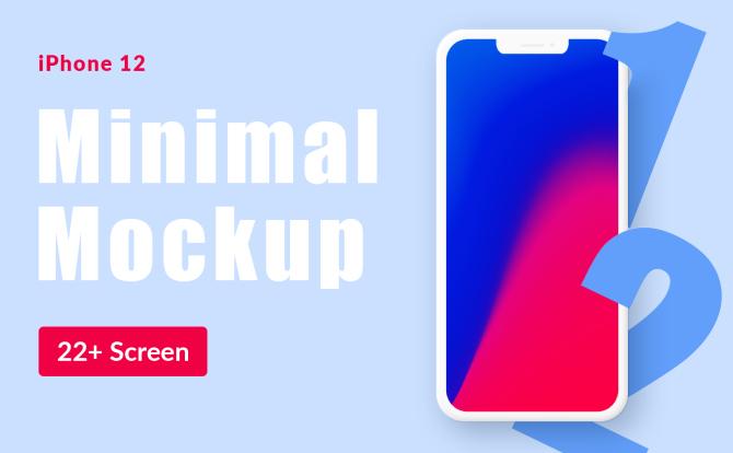 24张卡通 iPhone 12 Mini 平面等距展示设计样机 Mockup