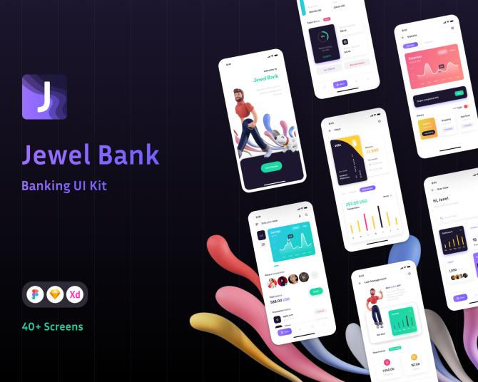 iOS珠宝银行商业应用程序APP UI套件 jewel-bank-banking-ui-kit