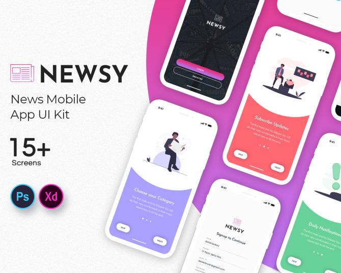 iOS端新闻自媒体新媒体应用程序UI套件 news-app-ui-kit