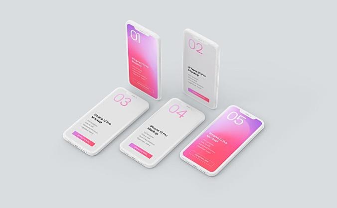 iPhone12 Pro 苹果概念手机设计样机模板智能贴图PSD