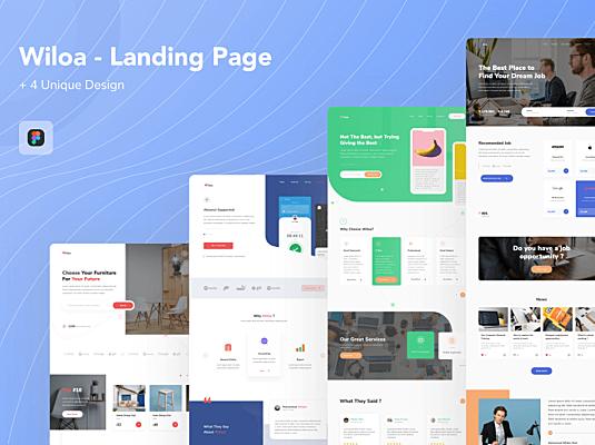 产品介绍网站WEB端门户网站素材Wiloa – Landing Page UI-Kit
