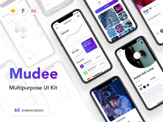 60个企业数据/高端数据演示界面展示素材模板下载Mudee Multipurpose UI Kit