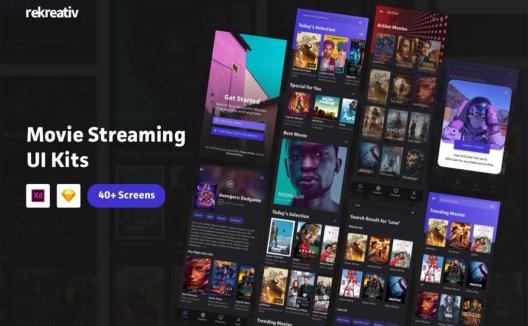 40+电影流媒体UI界面设计套件素材下载Movie Streaming App UI Kits