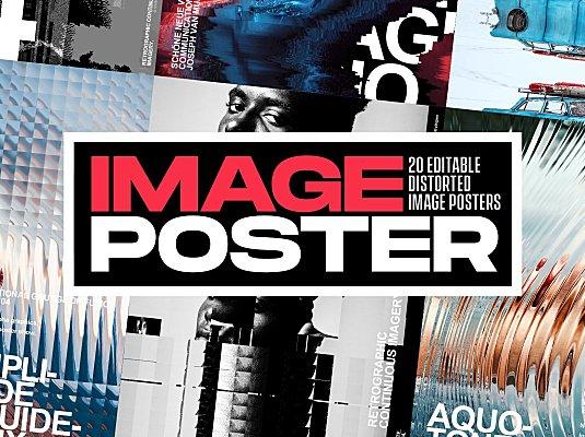 用这套抽象扭曲海报特效样机秒做国际范海报 Abstract and distorted poster design