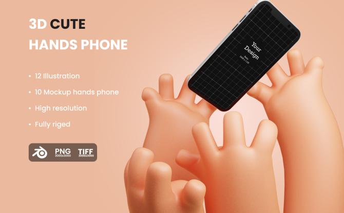 海外大神最新设计3D卡通人物手臂苹果iPhone样机-Hands Phone