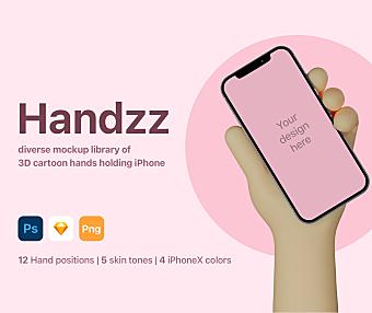 【完整版】可爱3D卡通手持iPhone设备样机智能贴图-iPhone psd mockups
