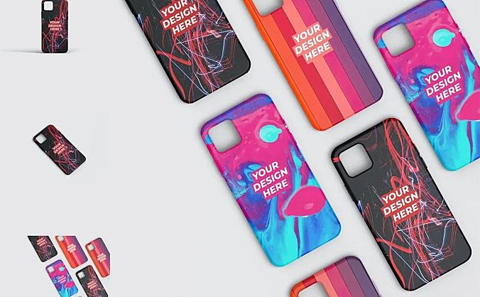 3摄像头iPhone系列手机壳图案设计样机智能贴图 Mobile phone case design prototype