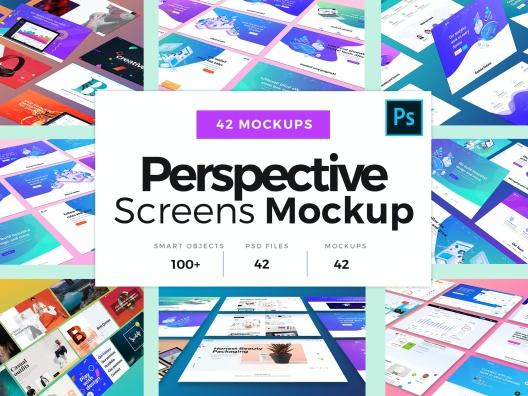 42张透视试图网页ui设计样机展示图智能贴图psd Website UI design prototype