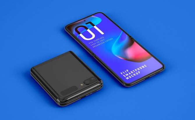 三星Galaxy Z Flip 折叠屏幕手机设计样机智能贴图Mockup Folding Phone