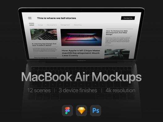 12个暗黑系高端MacBook Air笔记本电脑设计样机 Computer design prototype