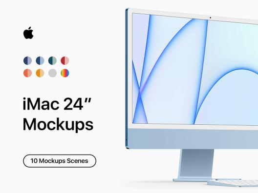 iMac24寸一体机电脑设计样机智能贴图 IMac computer design prototype
