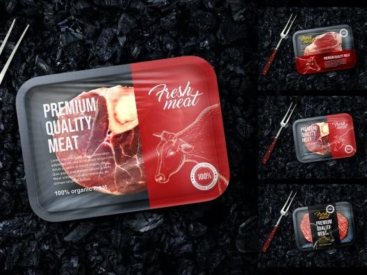 冷冻肉类食品包装设计样机 Meat Package Mockup