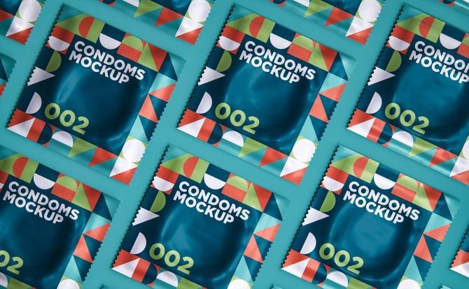 成人用品安全乳胶避孕套外包装设计样机智能贴图 elements condoms mockup