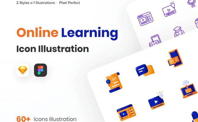 校园课堂学习教育类图标插画素材 Online Learning Icon Illustrations