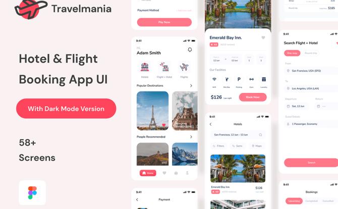 旅行飞机票汽车票酒店预订App ui应用程序套件 Hotel Application Suite