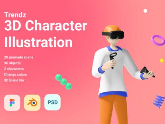 极简风格3D卡通角色插画包3D cartoon character illustration