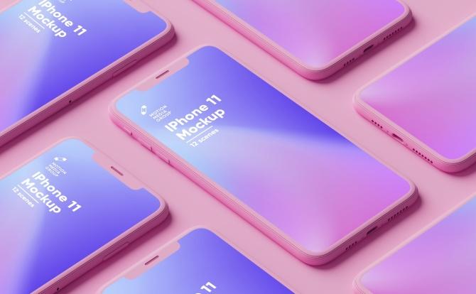 猛男粉苹果MacBook&iPhone手机设备屏幕展示样机模板合集 Pink Iphone and MacBook Mockups Pack