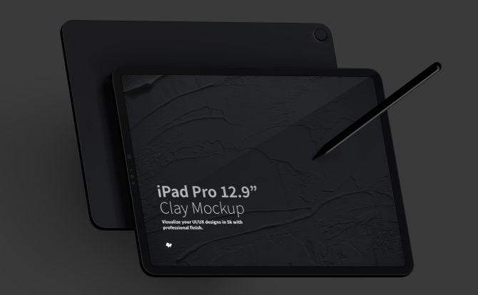 iPad Pro平板电脑前视图&后视图样机模板 Clay iPad Pro Mockup Landscape Front and Back View