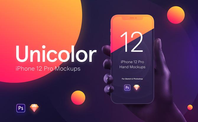 黑色白色手持iPhone 12 Pro设计样机纯净背景 iPhone 12 Pro pure background