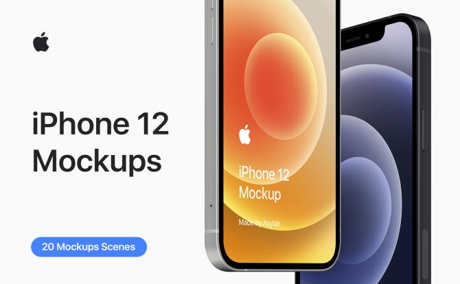 3.07GB苹果手机20个iPhone 12设计样材场景机素合集 iPhone 12 Mockup