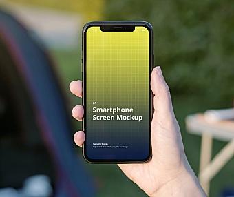 野外露营场景手持iPhone系列屏幕效果图展示手机样机 iPhone Mockup Camping Scenes