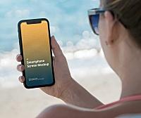 室外泳池手持iPhone应用程序使用场景屏幕展示设计样机模板 iPhone Mockup Beach Holiday Scenes