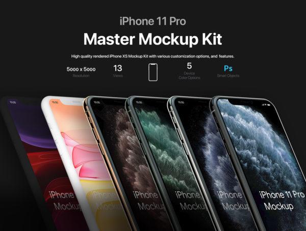 苹果手机iPhone 11 Pro样机模板应用程序场景展示iPhone 11 Pro Master Mockup Kit